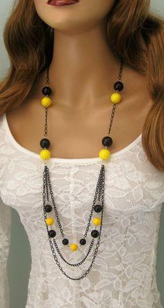 Negro largo con cuentas de collar collar negro por RalstonOriginals