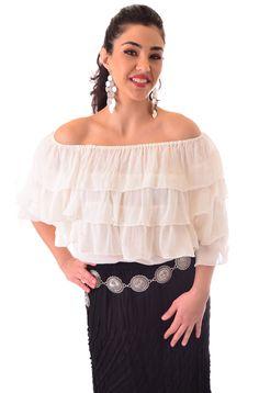 Boho Style Turquoise Ruffled Blouse: Western Wear | Women Western Clothing | Western Apparel Clothing