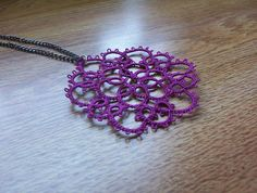 lace pendant necklace purple lace necklace tatted by MamaTats, $22.00