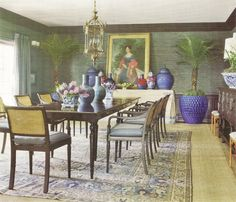 What a royal sized dining room!  Fabulous British Colonial style influences in this dining room by Mary #McDonald (love how she layers a Tabriz carpet over seagrass). Photo from the October 2010 Veranda.