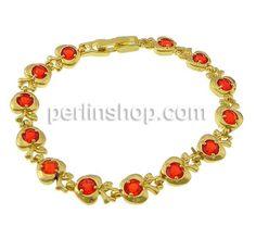 Messing Armband, Apfel, goldfarben plattiert, mit Strass, frei von Nickel, Blei & Kadmium, 13x8mm, Länge:7 Inch