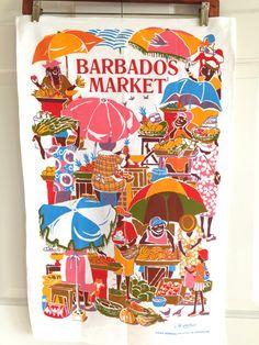 Vintage tea towel, Barbados, Design Jill Walker