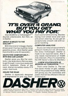 https://flic.kr/p/RW6biH | 1974 Volkswagen Dasher Advertisement Readers Digest December 1974 | 1974 Volkswagen Dasher Advertisement Readers Digest December 1974