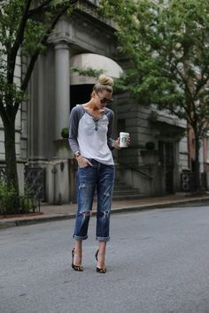 Heels make the outfit: baseball tee, distressed jeans. And leopard heels. Via Suit Up or Die