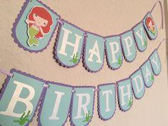 Little mermaid banner, Mermaid Under the Sea Birthday banner by NiuDesigns on Etsy