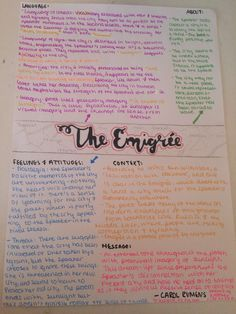 Emigree - Carol Rumens//poem revision sheet