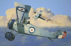 Captain William 'Billy' Bishop. In June 1917, Bishop attacked a German airfield, destroying several devices on the ground, and another seven that rose to intercept. For this action he was awarded the Victoria Cross and ended the war with 72 confirmed victories. In this painting by Ivan Berryman shown Bishop in his Nieuport Scout tuition B1566, fighting a Pfalz D.III.