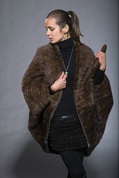 New Fashion 100% Real Knitted Mink Fur Coat Poncho Jacket Women ...