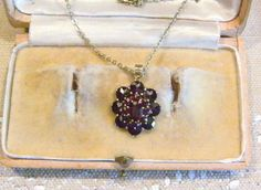 Antik Art Deco um 1920 Granat Gold Anhänger Collier Antique Garnet Pendant