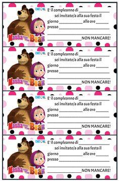 Cartoni animati - Inviti feste di compleanno di Masha e Orso da stampare gratis online e da compilare a mano. Stampa il tuo invito dei cartoni animati Amber, Disney, Sweet, Baby, Cell Phone Wallpapers, Newborns, Baby Baby, Ivy, Infants