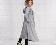 Maxi Hooded Wool Coat Cloak 100% Cashmere Maxi Cashmere | Etsy Hooded Wool Coat, Hooded Cloak, Long White Shirt, Womens Linen Clothing, Cashmere Cape, Summer Tunics, Black Wool Coat, Jackets For Women, Clothes For Women