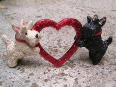 Wheaten & Black Scottish Terrier ~ SCOTTIE ~ VALENTINE HEART Scene!