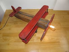 Wooden  Biplane Industrial Table Lamp Airplane Decor Vintage Style Man Cave Toy