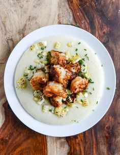 gouda grits with smoky brown butter shrimp I howsweeteats.com