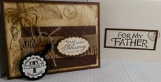 """Stampin Up! Masculine Birthday Card. This is made for a father using: Chocolate Chip & Very Vanilla card stocks, Soft Suede water based dye ink, Zig-Zag embossing folder. """"By The Tide"""" stamps set is used to create the background layer, instead of using ready use designer series paper. Jute & button complete the look of a manly design. This card is handmade by Q2uniquedesigns ~ http://www.stampinup.net/esuite/home/suzy-q/"""