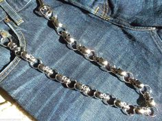New Men's Wallet Jean Chain Skulls Key Ring Attachment Silver Bikers Truckers #Handmade #ChainClip