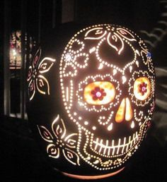 Day of the dead stenciled jack o lantern. #Halloween
