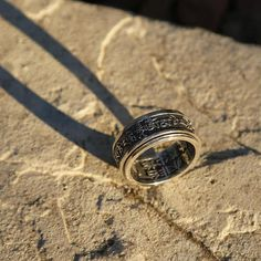 Tibetan Buddhist Prayers Sterling Silver Spinner Ring Mens