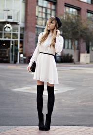 knee socks.heels.white dress <3