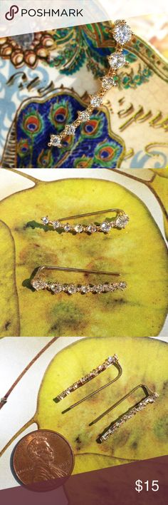 "Gold Plated Ear Crawler Earring Pair Cascading sparkling diamond look stones set in gold plated metal. Slides easily onto regular single pierced lobes. Ear wires are gently adjustable for fit. About 1"" long each. Includes small rubber backings (not pictured). Shine bright! #ear cuff #dainty Candymuse Jewelry Earrings"