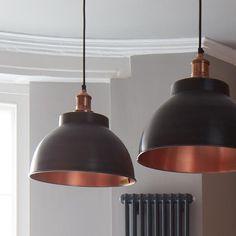 Brooklyn Vintage Metal Dome Pendant Light - Dark Pewter & Copper - 13inch