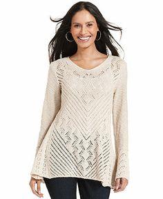 Styleco. Pointelle-Knit Tunic Sweater - Sweaters - Women - Macy's