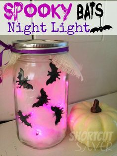 If you are looking for some spooky inexpensive Halloween decorations, try making this Spooky Bats Night Light. It will light up an area in your house and will look great on the mantel, centerpiece, or in a window. It only requires 4 supplies to make and some supplies you may already have on hand or find at the Dollar Store. - Shortcutsaver