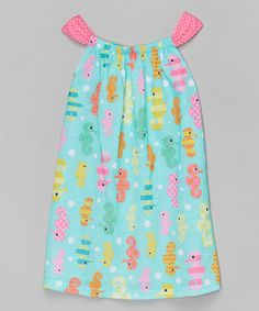 Another great find on #zulily! Aqua & Pink Seahorse Gathered Nightgown - Girls by Komar Kids #zulilyfinds