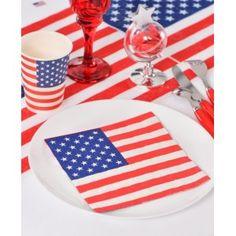 Serviettes de table Amérique drapeau américain papier les 20, Etats Unis, U.S.A