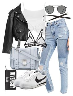 """Untitled #21495"" by florencia95 ❤ liked on Polyvore featuring BDG, Proenza Schouler, Topshop, Givenchy, Jean-Paul Gaultier, NIKE, Ray-Ban, Fleur du Mal and H&M"