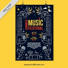 Party poster with hand drawn musical elements Free Vector Event Poster Design, Creative Poster Design, Retro Graphic Design, Graphic Design Inspiration, Festival Posters, Concert Posters, Line Art, Plakat Design, Beautiful Posters