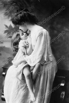 Beautiful Mother Embraces Her Girl! 4x6 Reprint Of Old Photo