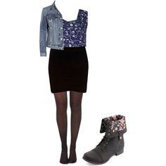 denim jacket, navy floral mesh crop top, black bodycon skirt, tights, black  boots