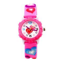 luckyBEAR Waterproof 3D Silicone Children Cartoon Watch for Girls Boys kids Easy Reading Times Teacher As a Cute Gift (Love-Pink)