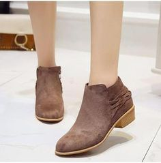 809be68d1 Women Casual Block Heel Ankle Boots Autumn Suede Vintage Shoes - ILYMIX  Accessories