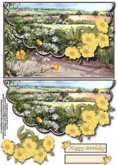 Pretty hedgerow envelope card with decoupage on Craftsuprint designed by Amanda McGee - A pretty envelope card featuring pretty hedgerow design with floral embelishment - Now available for download!