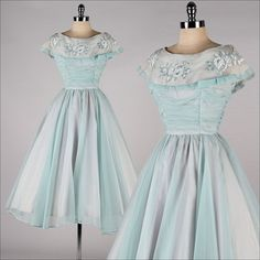 vintage 1950s dress . powder blue chiffon . by millstreetvintage, $185.00