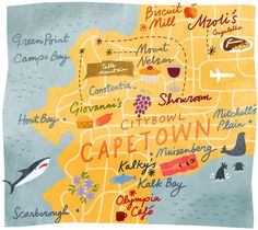 Cape Town - South Africa www. Go to your most desired holiday destination with friends or family with a short term loan, maybe just to catch a break from your stressful environment. Africa Map, Africa Travel, Holiday Destinations, Travel Destinations, Dutch Uncle, Le Cap, Cape Town South Africa, Travel Illustration, Exhibition Poster