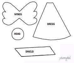 Plantilla para hacer un sencillo ángel de fieltro | Broches de Fieltro | Todo sobre la confección de los Broches de Fieltro: Muñecas, Flores, Diseños originales, Patrones