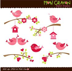Valentine's Day birds and birdhouse digital clipart , bird , birds clip art , hot pink valentine birds, scrapbooking , love , heart. $5.00, via Etsy.