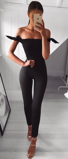 fashionable outfit idea off shoulder jumpsuit heels