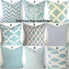 GET A WHOLE NEW LOOK JUST BY USING PILLOWS! WITH DESIGNER FABRICS, THESE PILLOW COVERS CAN GO RIGHT ONTO A PILLOW FORM OR OVER YOUR EXISTING PILLOWS!  Add a FRESH NEW DESIGNER LOOK to any room with this pillow cover made for any size of pillow. It features gorgeous Chevron, ikat, Damask, Greek Key and Solid pattern all in Spa Blue on a Cream background. Its made up of a woven 100% decorator weight cotton fabric.   * * * MIX AND MATCH ANY COMBINATION OF THESE SIZES & PATTERNS  WITH THESE…