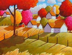 """Print 5""""x7"""" by Cathy Horvath Folk Art Fall Country Field & Trees, Colorful Farm Cottage Giclee, Autumn Rural Landscape Reproduction Artwork"""