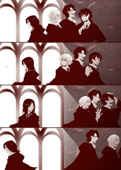 the marauders and snape <-- Looks more like Sirius and Regulus to me <-- I never really pictured Regulus with longer hair.