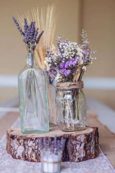 2019 brides favorite weeding color stylish shade of purple-rustic purple wedding centerpieces, baby breath and lavender wedding flowers, spring weddings, wedding decorations Purple Wedding Centerpieces, Purple Wedding Invitations, Flower Centrepieces, Lavender Wedding Decorations, Table Flowers, Paper Wedding Decorations, Wedding Table, Diy Wedding, Wedding Flowers