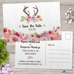 Watercolor Wildflowers and Antlers Faux Bois Rustic Save the Date Postcard, Printable, Evite or Printed (US Only) Postcards