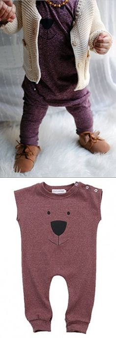 Ma&Baby Infant Baby Girl Boys Bear Jumpsuit Animal Cotton Romper Toddler Clothes (12-18 Months, Wine red)