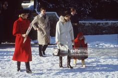 December 29, 1985: Princess Diana with (l To R) Prince Andrew, Princess Anne And Zara Phillips after church serve at St. Mary Magdalene, Sandringham. (Photo by Tim Graham/Getty Images)