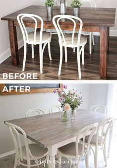 DIY farm table makeover. How to easily transform a table into a modern farmhouse table! A budget friendly kitchen table makeover update.