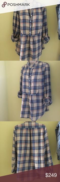Burberry Brit plaid flannel large pullover blouse Burberry Brit plaid flannel linen blend pullover blouse in Large. NWT Perfect this Fall and Winter with red lipstick and black leggings! Please ask questions if not sure about description etc. Ships in two business days or sooner. Burberry Tops Button Down Shirts